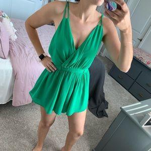 Kelly Green Dressy Romper